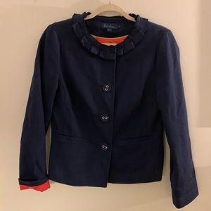Boden navy ruffle neck jacket 10